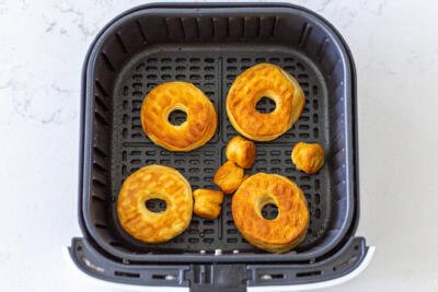 Air fryer donuts in a basket