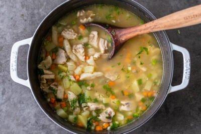 Mom's Chicken Dumpling Soup in a pot