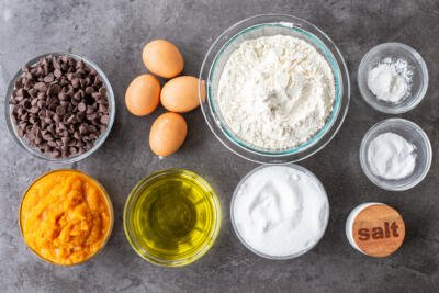 Ingredients for Pumpkin Chocolate Chip Muffins