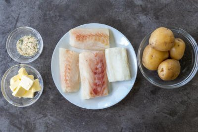Ingredients for roasted potatoes and cod