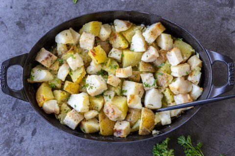 Roasted Cod and Potatoes in a pan
