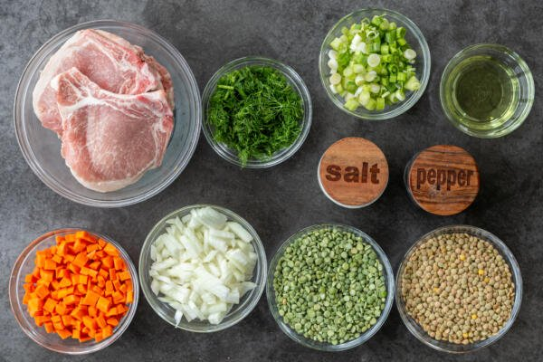 Ingredients for Split Pea and Lentil Soup with Pork Chops