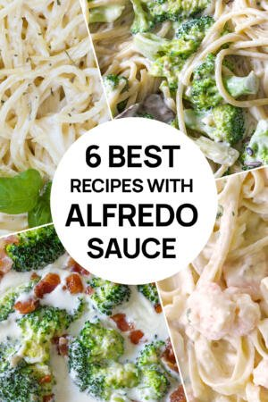 A collage of 4 Alfredo recipes