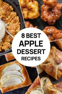 A collage of 4 apple desserts